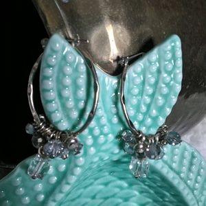 Silver Tone Lever Post Earrings W/Beads